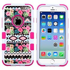 """myLife 2 Layered Protection Hybrid Bumper Case for iPhone 6 Plus (5.5"""" Inch) by Apple { White + Pink """" Floral Tribal Design"""" Three Piece SECURE-Fit Rubberized Gel} myLife Brand Products http://www.amazon.com/dp/B00P9PU88U/ref=cm_sw_r_pi_dp_ep5yub0S8Q5FY"""