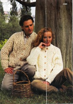 """womens / mens aran cardigans knitting pattern PDF ladies cable jacket honeycomb v or round neck 32-46"""" aran worsted 10ply Instant download by Hobohooks on Etsy"""