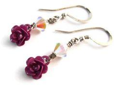 Pink Rose Earrings, Rose Dangle Earrings, Enamel Roses, Swarovski Rose Earrings, Crystal Roses, Pretty In Pink