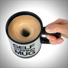 Your home's automation domination is slowly taking over the most basic of human tasks, making you flourish in your lazy bliss. And while this Self Stirring Mug won't levitate itself into your hand, it will stir the contents with a simple press of a button. Stir your tea, coffee, cocoa or mixed drinks. Includes a travel lid and operates on 2 AAA batteries.  #technology #self #stir #mug #automate #novelty #gift #coffee #tea #drink #mix