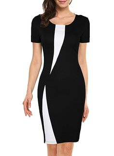 WOOSEA Women's Short Sleeve Colorblock Slim Bodycon Business Pencil Dress (Small, Black) at Amazon Women's Clothing store: