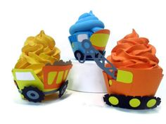Construction Cupcake Wrappers  set of 12 by cakeadoodledoo on Etsy, $20.00