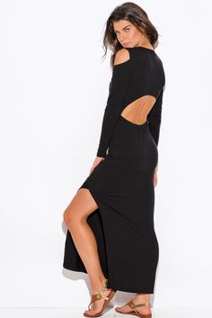 LIFE IN LOVE | black jersey cut out cold shoulder long sleeve backless high slit ankle maxi dress - 1015store.com