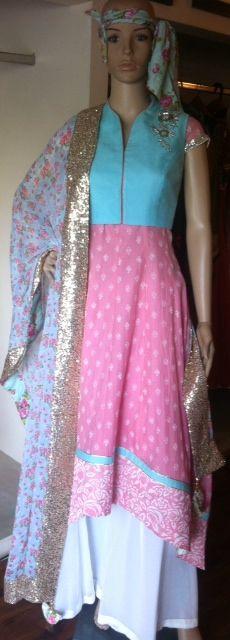 anarkali with short jacket and floral dupatta