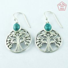 TURQUOISE STONE TREE OF LIFE DESIGN 925 STERLING SILVER EARRRINGS E4832 #SilvexImagesIndiaPvtLtd #DropDangle