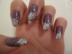 Purple/grey nails with glitter