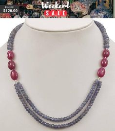 Double Strand Faceted Tanzanite and ruby jewelry Double Strand Faceted Tanzanite and Ruby Gemstone Beaded Necklace -Free Earrings,Anniversary Gift, Wedding Gift Bead Jewellery, Boho Jewelry, Wedding Jewelry, Beaded Jewelry, Jewelery, Handmade Jewelry, Fashion Jewelry, Jewelry Design, Gift Wedding