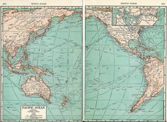1937 Map of the Pacific Ocean from World Atlas.