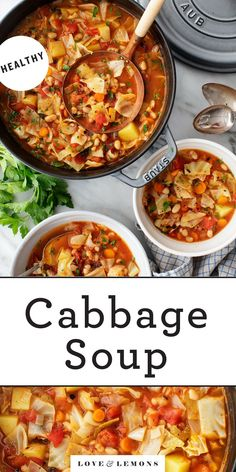 This easy cabbage soup recipe is SO healthy and flavorful! It freezes well, so it's a great recipe for meal prep. Serve it with crusty bread for a simple, delicious lunch or dinner. | Love and Lemons #cabbage #cabbagesoup #mealprep #healthy Easy Cabbage Soup, Cabbage Soup Recipes, Veggie Recipes, Whole Food Recipes, Vegetarian Recipes, Cooking Recipes, Healthy Recipes, Vegan Soups, Vegetarian Dinners