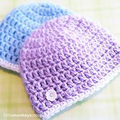 Ravelry: Super Simple Newborn Beanie (Charity Hat) pattern by Little Monkeys Crochet Crochet Baby Hats Free Pattern, Crochet Bebe, Free Crochet, Crochet Patterns, Hat Crochet, Booties Crochet, Crochet Baby Beanie, Newborn Crochet Hats, Simple Crochet