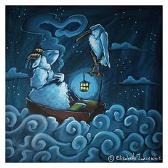Sheep and Stork Having Tea in a Boat at Night Fine Art Print