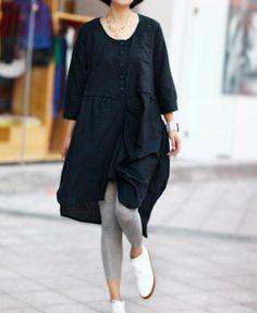 meet by chance/ asymmetric Pinch pleated linen dress by MaLieb, $79.00