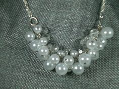 White Pearl Cluster Statement Necklace; Handmade; Bibb Necklace by JazzyDazzleJewelry on Etsy