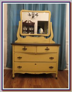 General Finishes Somerset Milk Paint was used to refinish this dresser.  Beautiful! You can buy General Finishes products at www.woodcraft.com, www.rockler.com, Amazon and limited selections at www.leevalley.com in Canada. Or use your zip code to find a retailer near you at http://generalfinishes.com/where-buy#UvASj1M3mIY.