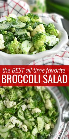 Broccoli Cauliflower Cucumber Salad - fully loaded with fresh broccoli, cauliflower, cucumber and herbs. This salad is an all-time favorite salad for holidays and a summer-must! #salad #broccolisalad #cucumbersalad #olgainthekitchen #saladrecipe #recipes #broccoli #cauliflower #healthyrecipes #recipevideo #videorecipe #summer #healthy Side Dish Recipes, Soup Recipes, Chicken Recipes, Savoury Recipes, Drink Recipes, Easy Recipes, Side Dishes, Fresh Broccoli, Broccoli Cauliflower