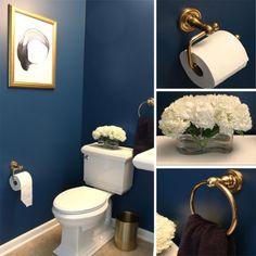 Powder Room Makeover – Before and After (Project Bambino) Half Bathroom Decor, Mold In Bathroom, Bathroom Images, Gold Bathroom, Steam Showers Bathroom, Bathroom Interior Design, Small Bathroom, Bathroom Ideas, Master Bathroom