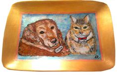 Hand painted animal dog and cat plate or platter of your favorite furry friends.  http://www.clearlysusan.com/Hand-painted- Dog-Platters-Animal-Platters_c_190.html;  $75.00  Please, follow
