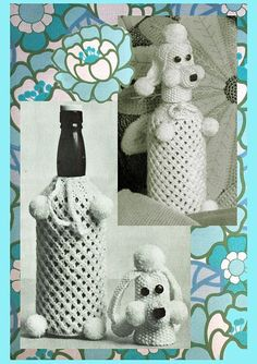 PDF Kitsch 1970s POODLE Dog Knitting Pattern  Novelty Home Easy Knitting, Knitting Patterns, Crochet Patterns, Retro Pattern, Top Pattern, Childhood Toys, Childhood Memories, Moss Stitch, Bottle Cover
