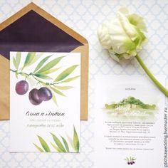 """Купить Акварельные свадебные приглашения """"Греческая свадьба"""" - оливковый, олива, приглашение на свадьбу, москва свадьба"""
