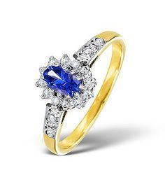 Tanzanite 5 x 3mm And Diamond 9K Gold Ring - Item A4268.  #tanzanitering #engagementring #engagement #ring #diamondstoreuk #yellowgold #tanzanite
