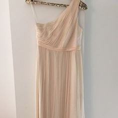 """Petite Kylie long dress in silk chiffon. PETITE 6 Color: champagne. Worn to a wedding, shows wear on bottom -- needs dry cleaned. Jcrew still sells this dress as it is classic style. No bra required. Altered for 5'2"""" J. Crew Dresses Wedding"""