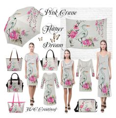 """""""Pink Crane Flower Dream"""" by jnccreations ❤ liked on Polyvore featuring artsadd"""