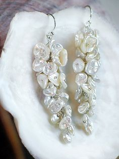 Snowy Wisteria Earrings / Clsuter of White Keishi Pearls in Sterling Silver