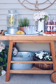 Outdoor Bar Cart and Potting Bench! - The Pink Dream - Emily Norton - Outdoor Bar Cart and Potting Bench! - The Pink Dream Summer Barcart and Potting Bench! - The Pink Dream - Diy Bar Cart, Gold Bar Cart, Bar Cart Decor, Bar Cart Styling, Bar Carts, Outdoor Potting Bench, Potting Bench Plans, Outdoor Bar Cart, Outdoor Bars