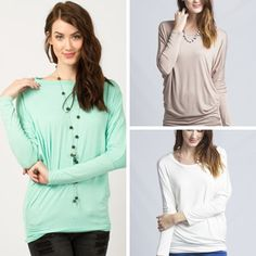 NEW ARRIVAL! We have added a few new colors to our Solid Long Sleeve Dolman Tunic Tops.  $19 with free ship.  Comes in S-L.  We have Mint, Taupe and White.  We also restocked the Black.  S (0-4)  M (6-8)  L (10-12)  *I am a size 8/10 and like the Med.  Comment with Email and State to Purchase or shop on our website under new arrivals.  ~Invoices are due within 24 hours~