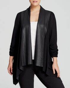 Karen Kane Plus Size Fashion Vegan Black Faux Leather Cardigan | Bloomingdale's #Karen_Kane #Black #Faux #Leather #Plus #Size #Fashion #Plus_Size_Fashion #Bloomingdales