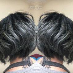 trendy hair color pastel titanium - All For Hair Color Trending Short Grey Hair, Short Hair Cuts, Short Wavy, Long Hair, Medium Hair Styles, Short Hair Styles, Charcoal Hair, Dark Hair With Highlights, Silver Highlights