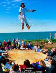 Photo of Summer visitors view Eskimo blanket toss / Kotzebue Alaska