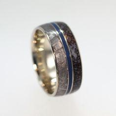 Dinosaur Bone Ring - Titanium Band with Gibeon Meteorite and Blue Enamel pinstripe. $799.00, via Etsy.