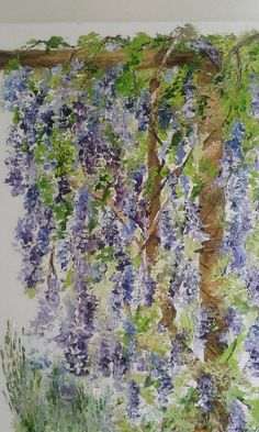 Palette knife oil painting Wisteria