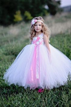 White Flower girl dress Lace pink flower girl by GlitterMeBaby, $75.00