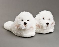 Bichon Frise Dog Slippers - Just as fluffy and #cute as a real Bichon Frise!