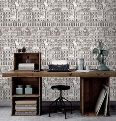 Inspired by history Mind The Gap Louvre Wallpaper is a classic reinvented, that depicts the beauty of Paris gorgeous traditional buildings and brings the quirky and the fabulous into your homes and onto your walls. Retro Wallpaper, Black Wallpaper, Amazing Wallpaper, Unique Wallpaper, Architectural Features, Architectural Elements, Eclectic Design, Interior Design, Feature Wallpaper