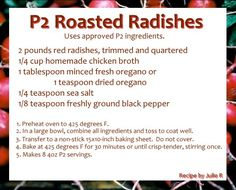 P2 Roasted Radishes - Omnitrition - P2 Recipes - not yet approved by home office