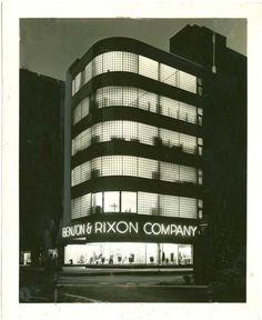 Benson & Rixon Co. in Chicago. Designed by Alfred S. Alschuler in 1937. Neon font choice as curvilinear as the streamline deco architecture.