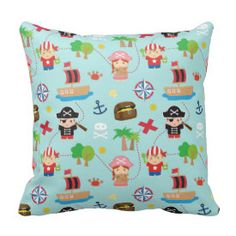 Cute Colourful Pirate Pattern Kids Room Decor Throw Pillow