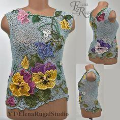 Crochet Lace Collar, Crochet Tunic, Freeform Crochet, Irish Crochet, Crochet Clothes, Knit Crochet, Crochet World, Irish Lace, Pants Pattern
