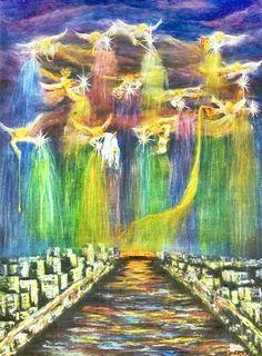 """Gathering of Angels"" Oil on Canvas. Angels are shown bringing blessings from above and pouring them out on a city prepared for revival. Each angel has a different anointing and gift to bring, ranging from healing, music, justice, etc. By Connie Baten"
