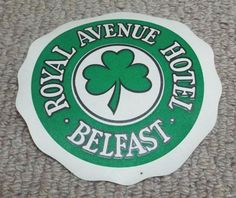 ROYAL AVENUE HOTEL - BELFAST - VINTAGE HOTEL LUGGAGE LABEL Vintage Hotels, Luggage Labels, Belfast, History, Antiques, Ebay, Collection, Antiquities, Historia