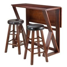 "Winsome Wood 94302 Harrington 3-Pc Drop Leaf High Table, 2-24"" Cushion Round Seat Stools"