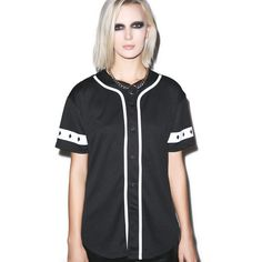 Strike Zone Baseball Jersey ($32) ❤ liked on Polyvore featuring tops and baseball jerseys