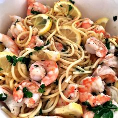 Mystery Lovers' Kitchen: Lemon Garlic Shrimp Pasta #recipe #giveaway @LucyBurdette