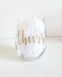 Cheers Wine Glass, New Years Wine Glass, Special Occasion Wine Glass, Stemless Wine Glass, Gifts For Her, Celebrating Wine Glass Mountain Designs, Cheers, Vinyl Decals, Wine Glass, Special Occasion, Gifts For Her, How To Apply, Wedding Ideas, Messages