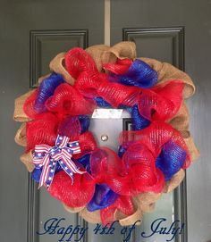 A Little Bolt of Life: 4th of July Deco Mesh Wreath - DIY