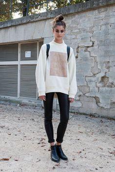 oversized sweatshirt + black tights + boots