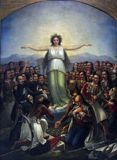 Grateful Hellas (Greece personified as a woman, with revolutionaries who participated in the Greek War of National Gallery of Athens; National Historical Museum, Greek Independence, Greek Flag, National Gallery, Classical Period, Angeles, Greek History, Greek Culture, Greek Art